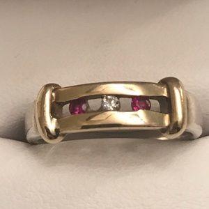 Jewelry - 10K Yellow Gold, SS, Ruby & Diamond Band